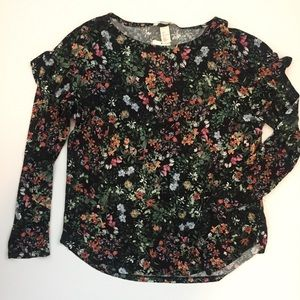 Floral Top with Ruffle Shoulder